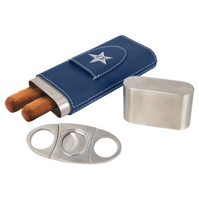 Blue-Silver Laserable Leatherette Cigar Case with Cutter