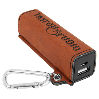 Rawhide Laserable Leatherette 200 mAh Power Bank with USB Cord
