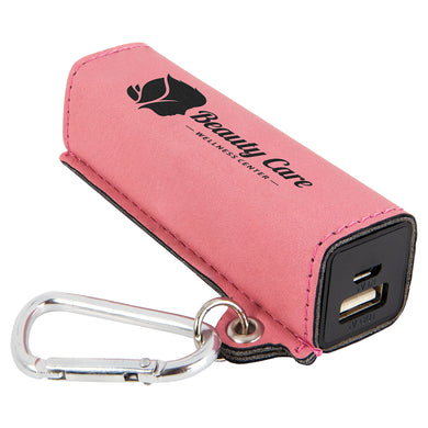 Pink Laserable Leatherette 200 mAh Power Bank with USB Cord