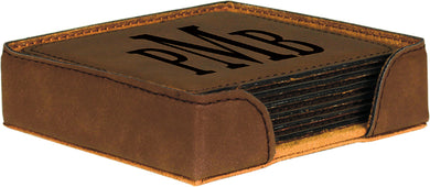 Dark Brown Square Laserable Leatherette 6-Coaster Set