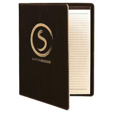 Black-Gold Laserable Leatherette Portfolio with Notepad