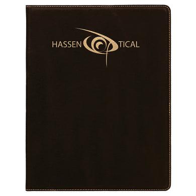 Black-Gold Laserable Leatherette Small Portfolio with Notepad