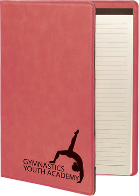 Pink Laserable Leatherette Portfolio with Notepad
