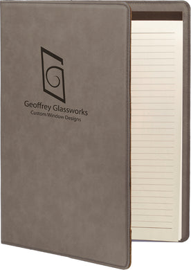 Gray Laserable Leatherette Small Portfolio with Notepad