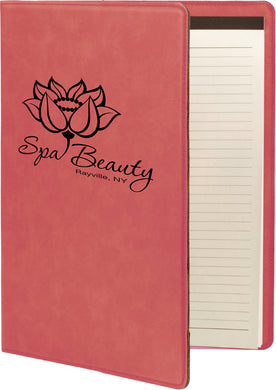 Pink Laserable Leatherette Small Portfolio with Notepad