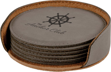 Gray Round Laserable Leatherette 6-Coaster Set