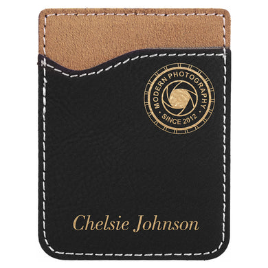 Black-Gold Laserable Leatherette Phone Wallet