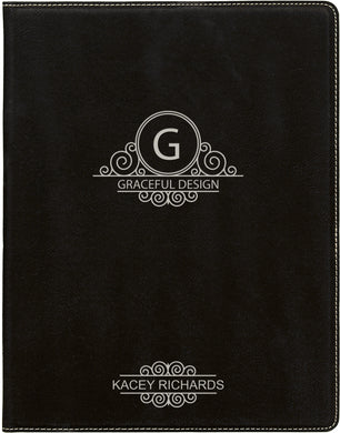 Black-Silver Laserable Leatherette Small Portfolio with Notepad