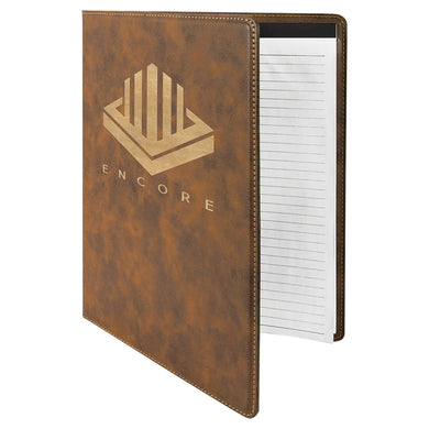 Rustic-Gold Laserable Leatherette Portfolio with Notepad