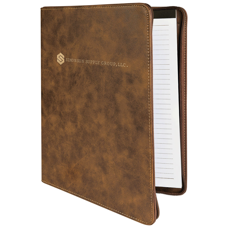 Rustic-Gold Portfolio with Zipper and Notepad