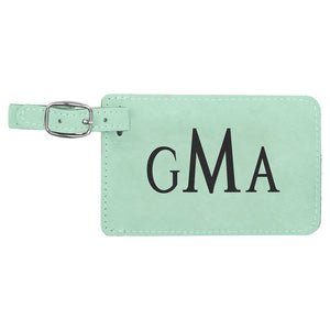 Teal Laserable Leatherette Luggage Tag