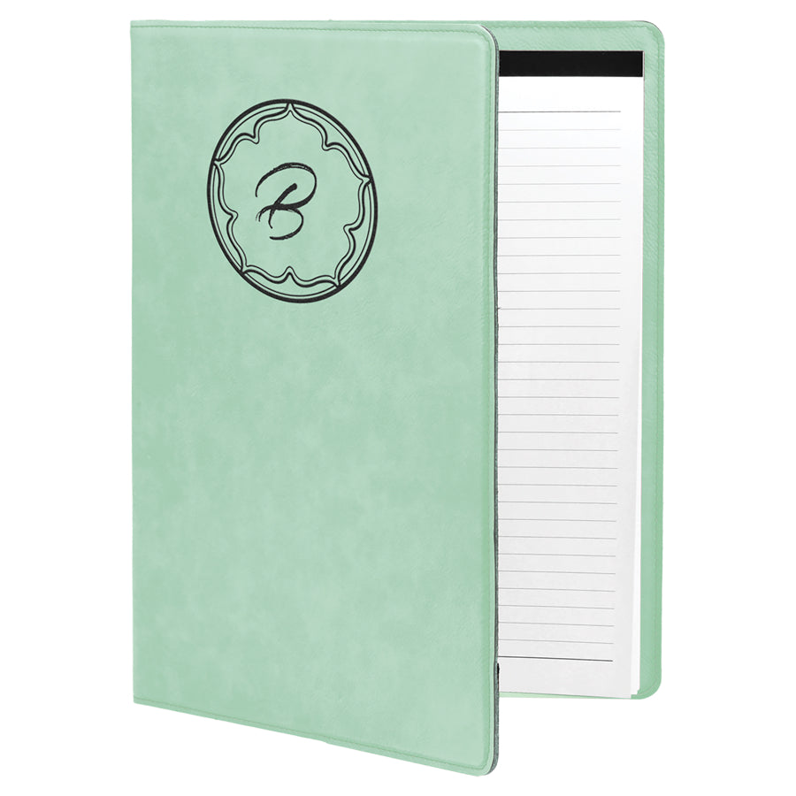 Teal Laserable Leatherette Small Portfolio with Notepad