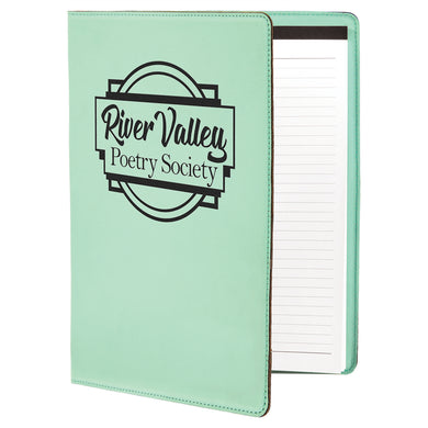 Teal Laserable Leatherette Portfolio with Notepad