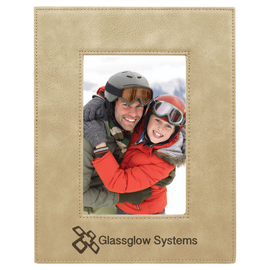4x6 Light Brown Laserable Leatherette Photo Frame