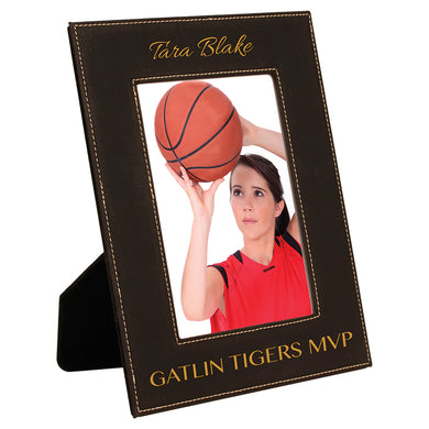 5x7 Black Gold Laserable Leatherette Photo Frame