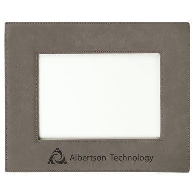 5x7 Gray Laserable Leatherette Photo Frame