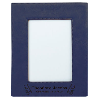 5x7 Blue Laserable Leatherette Photo Frame