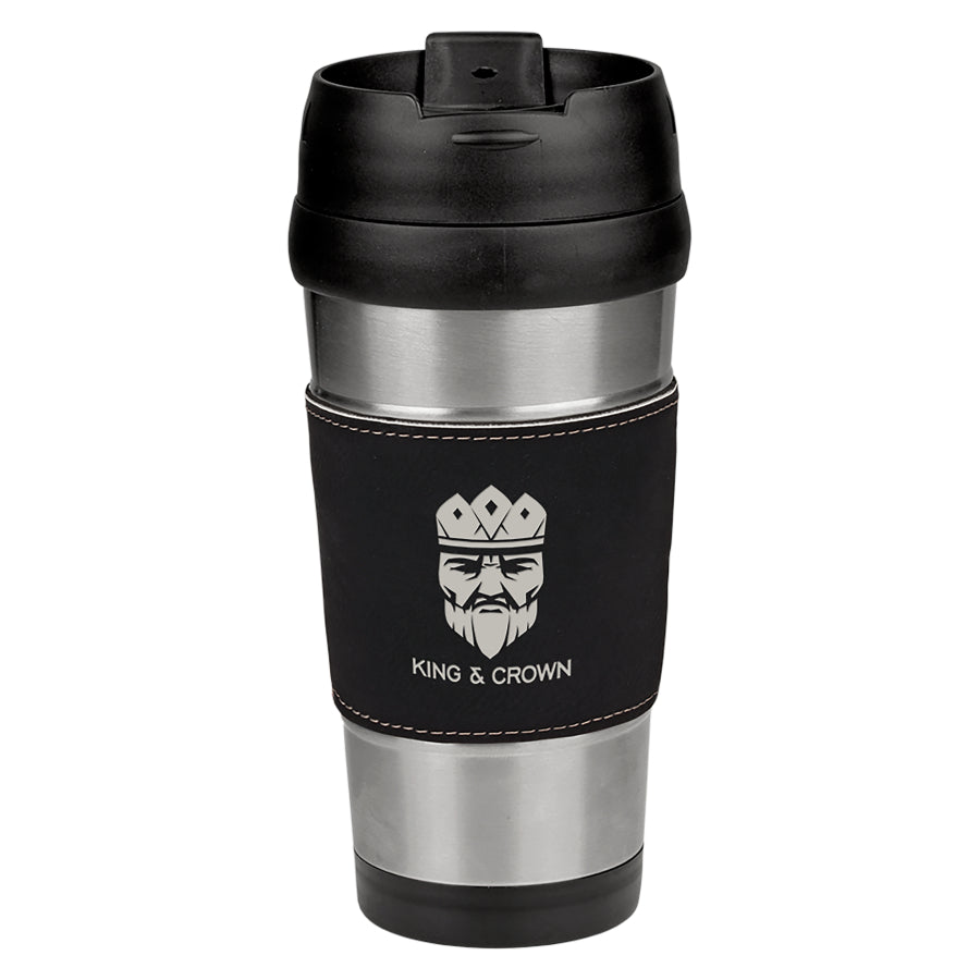 16 oz. Black-Silver Laserable Leatherette Stainless Steel Travel Mug