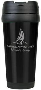 16 oz. Black Laserable Stainless Steel Travel Mug