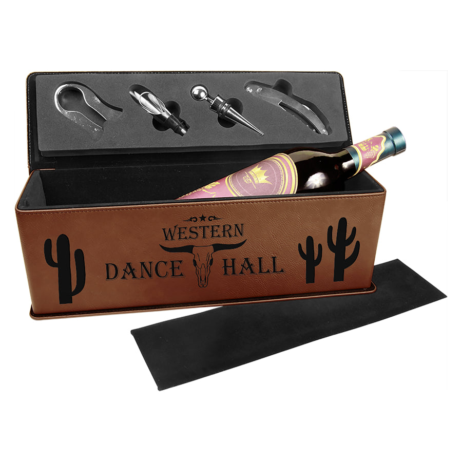 Dark Brown Laserable Leatherette Single Wine Box with Tools