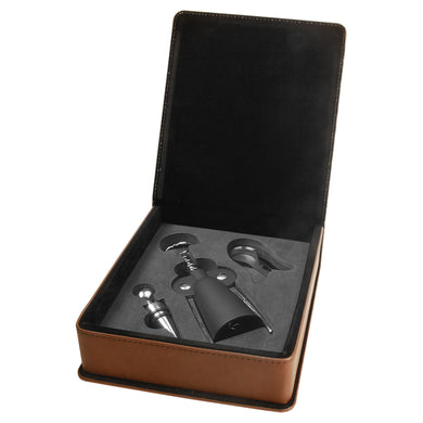 Dark Brown Laserable Leatherette 3-Piece Wine Tool Gift Set