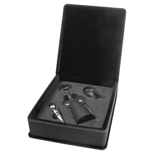 Black-Silver Laserable Leatherette 3-Piece Wine Tool Gift Set
