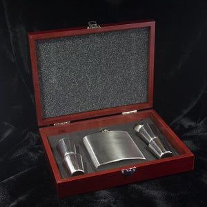 6 oz. Stainless Steel Flask Set in Wood Presentation Box