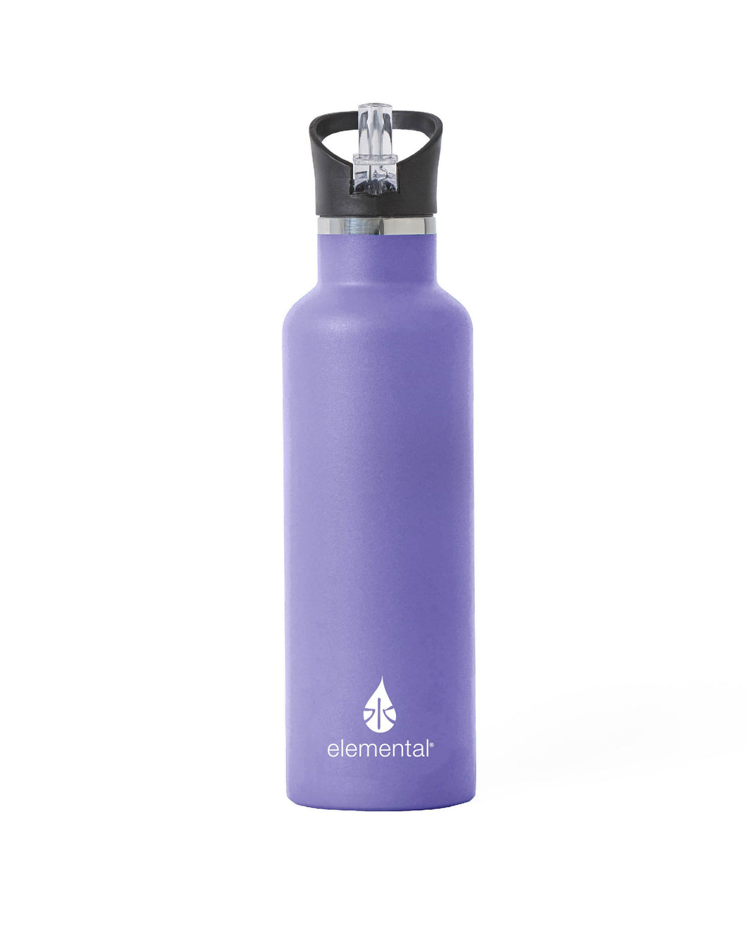 25 oz. Elemental Stainless Steel Sport Water Bottle - Lavender with Black Sport Top
