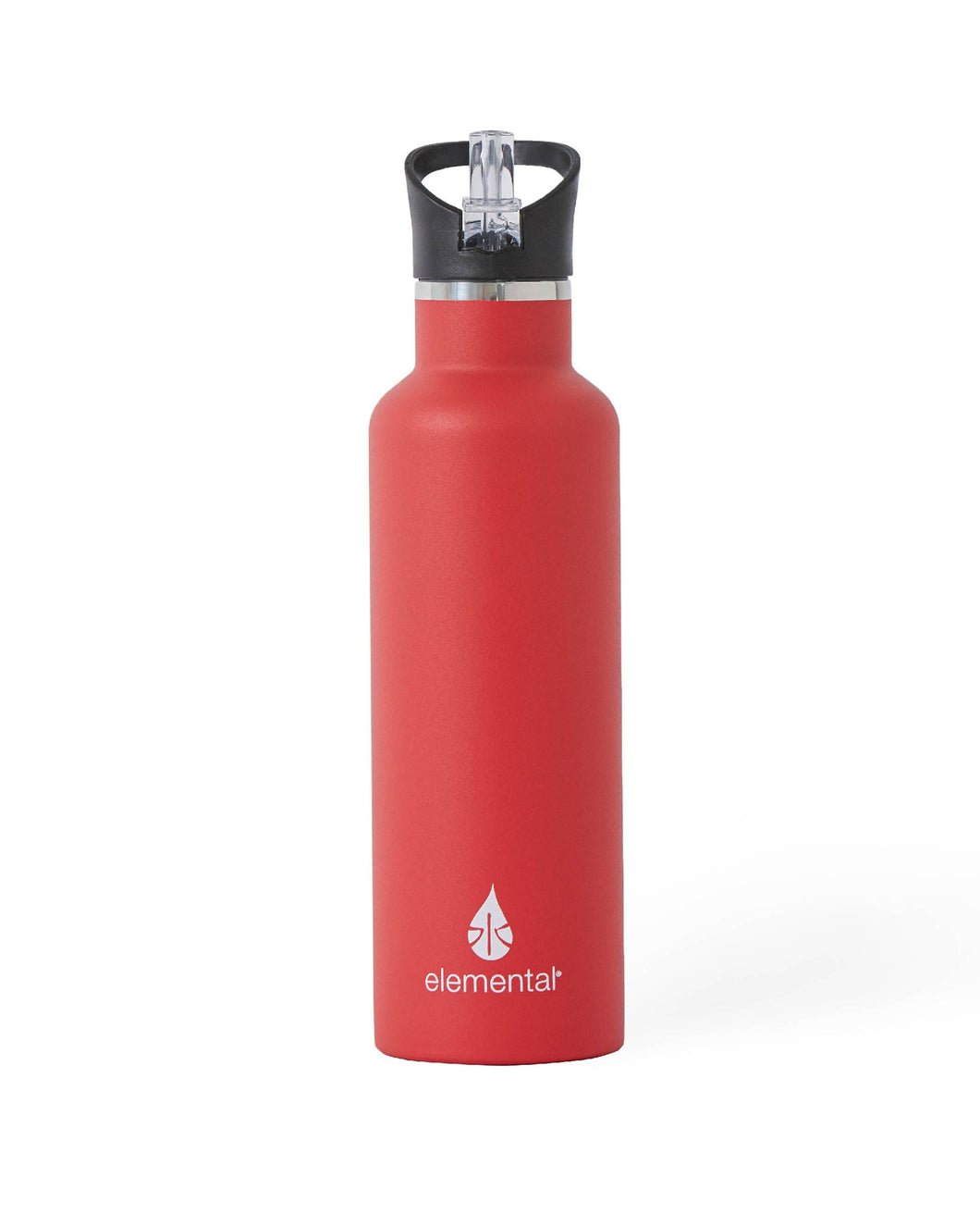25 oz. Elemental Stainless Steel Sport Water Bottle - Red with Black Sport Top