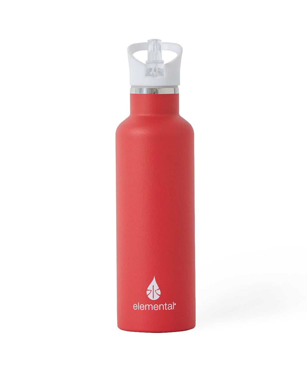 25 oz. Elemental Stainless Steel Sport Water Bottle - Red with White Sport Top
