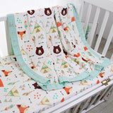 Four Layer Fox + Bear Bamboo Blanket
