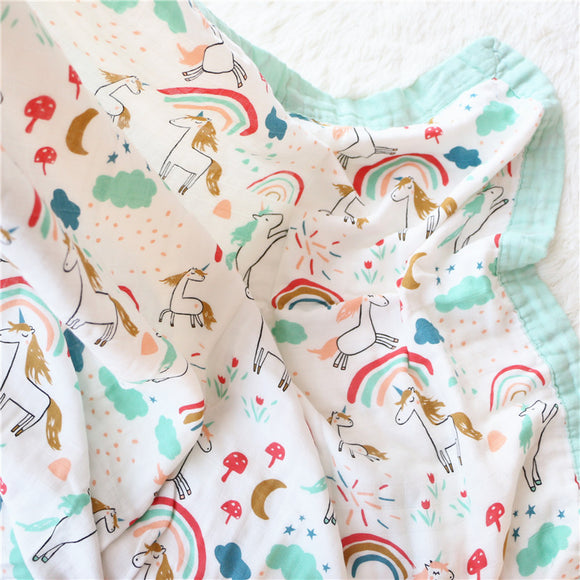Four Layer Unicorn Bamboo Blanket