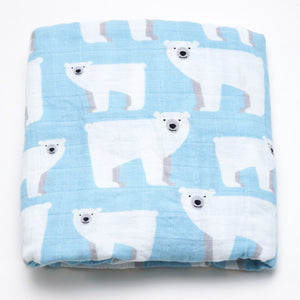 Organic Extra Large Polar Bear Cotton Muslin