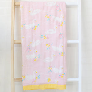 Four Layer Swan Bamboo Blanket