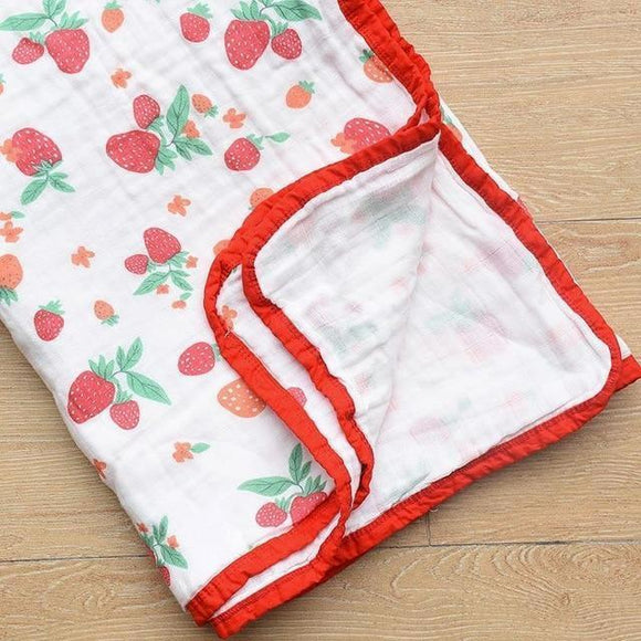Four Layer Strawberry Cotton Blanket