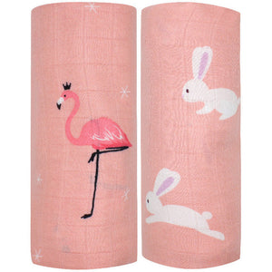 2 Pack Extra Large Pink Bamboo Muslins