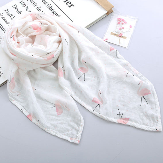 Extra Large Flamingo Cotton Muslin