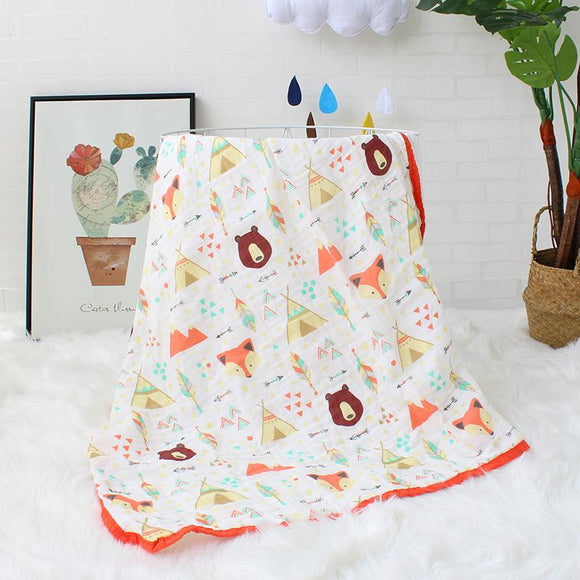 Four Layer Fox + Bear Cotton Blanket
