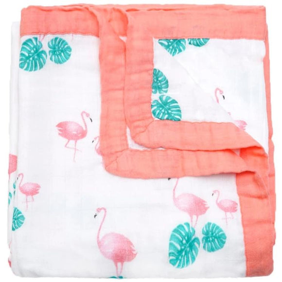 Four Layer Flamingo Bamboo Blanket