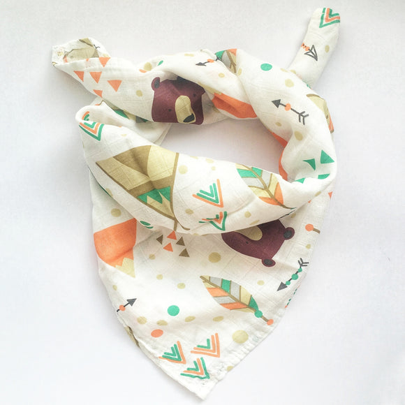 2 Pack Fox + Bear Bamboo Muslin Squares