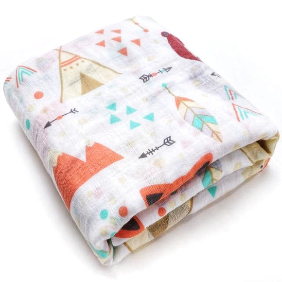 Extra Large Fox + Bear Cotton Muslin