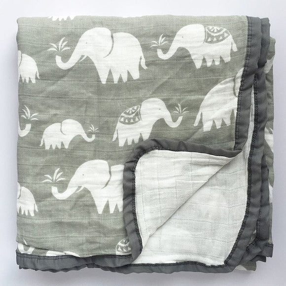Four Layer Elephant Cotton Blanket