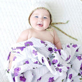 Extra Large Purple Flower Bamboo Muslin
