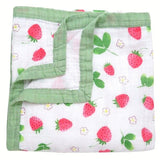 Four Layer Strawberry Bamboo Blanket