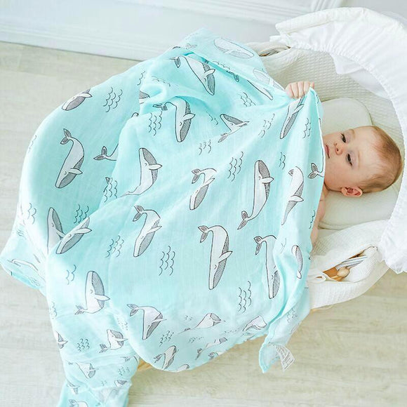Extra Large Whale Bamboo Muslin