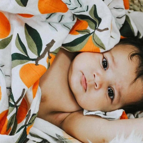 Extra Large Orange Bamboo Muslin