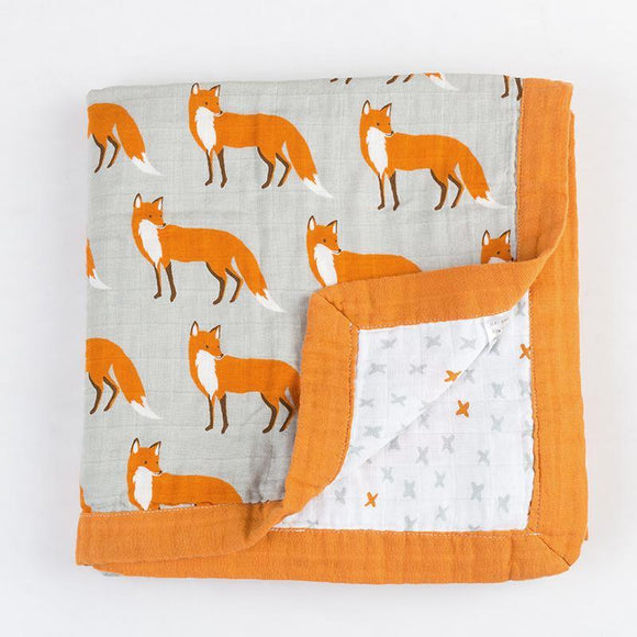 Four Layer Organic Cotton Fox Blanket