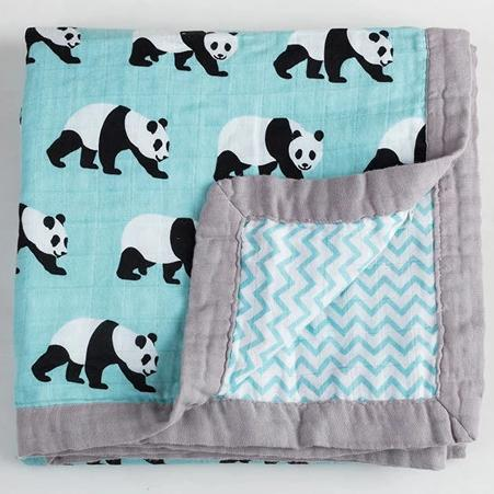 Four Layer Organic Cotton Panda Blanket