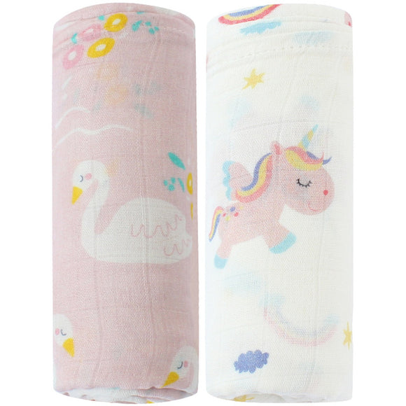 2 Pack Extra Large Girls Bamboo Muslins