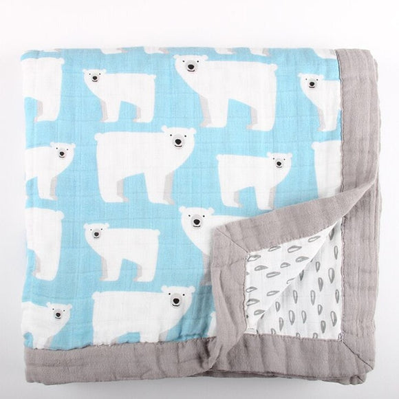 Four Layer Organic Cotton Polar Bear Blanket